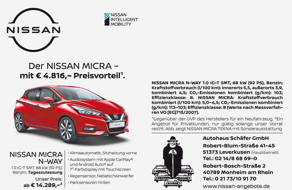 Nissan Micra mit 4816 Euro Preisvorteil